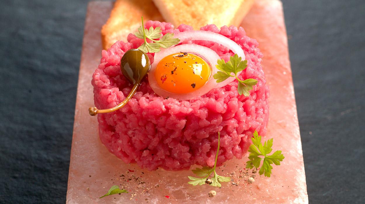Bloque de Sal de Persia. Steak tártar (uso en frío)