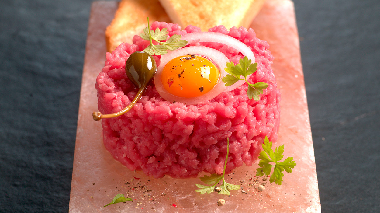 Persian salt block. Steak tartare